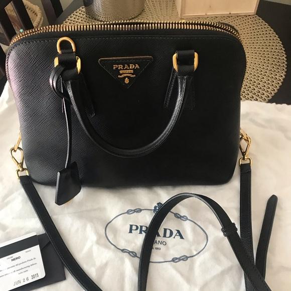 1682d6f503fe Prada Bags   Promenade Saffiano Vernice Black Leather Tote   Poshmark